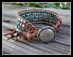 Five 5 Row Beaded Leather Boho Chic Southwestern Style Cuff Bracelet with Dakota Stones Genuine African Turquoise and Silver Beads