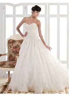 A-line/Princess Strapless Chapel Train Organza Wedding Dress
