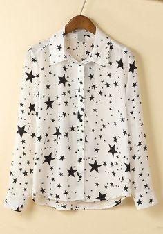 White Star Print Turndown Collar Cotton Blend Blouse
