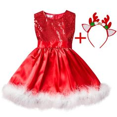 Baby Girl Christmas Clothes Girls Sequined Princess Dress Feathers Tutu Dress Children Slim Dress For With Deer Headband Girls Party Dress, Birthday Dresses, Baby Dress, Dress Up, Girls Dresses, Dress Girl, Dress Shoes, Shoes Heels, Baby Girl Christmas Dresses