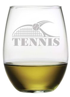 Tennis Stemless Wine Glasses Serve a glass of wine, a cocktail or even tea or juice in these etched Tennis stemless wine glasses. This is a cute set of stemless wine glasses for the tennis player! DETAILS: Each of these stemless wine glasses is individually sand etched. Each wine glass has a capacity of 21 oz. and is dishwasher safe. Dimensions: 4.625 inches tall x 3 inches at rim Includes 4 Stemless Wine Glasses, Same Design on Each Glass Hand etched in the USA *Each set of glasses is hand…