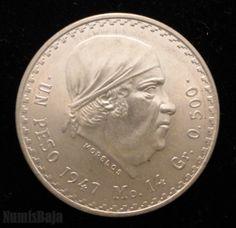 1 peso de plata Morelos cacheton 1947