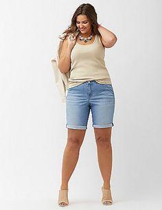 New Lane Bryant $60 Denim Bermuda Shorts w Trouser Styling Light Wash Plus 16 1X #LaneBryant #Denim