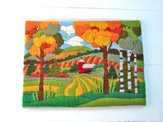 Vintage Crewel Work Colorful Country Scene  Fall by MellowMermaid, $32.00