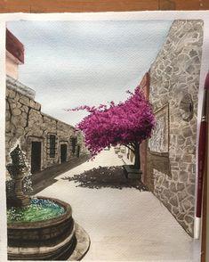 Callejon del romance, Morelia, Michoacán.  #acuarela #watercolor #watercolour #morelia #michoacan #mexico #waterblog #aquarelle #акварель #realism #realistic #art_empire #painting #art