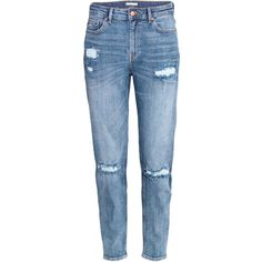 H&M Girlfriend Jeans ($46) ❤ liked on Polyvore featuring jeans, pants, trousers, bottoms, denim blue, blue jeans, short pants, ankle length jeans, h&m i low rise jeans