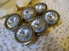 Vintage Rhinestone & Gold Braid Buttons Set of 6