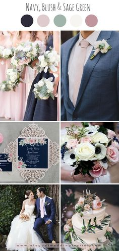 classic navy,blush pink and sage green wedding color palettes wedding themes Popular Fall Wedding Colors and Invitation Ideas-Something Blue Pink Green Wedding, Pink Wedding Colors, Sage Wedding, Dusty Rose Wedding, Blush Pink Weddings, Dream Wedding, Trendy Wedding, Burgundy Wedding, Summer Wedding