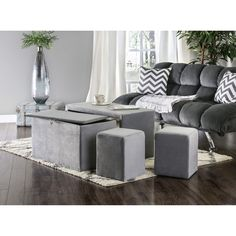Furniture of America Cole Contemporary 4-Piece Nesting Bench and Ottoman Set - Free Shipping Today - Overstock.com - 18426994