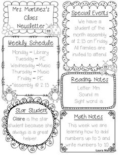 Editable class newsletter template --- Cute and simple. Might change Weekly Schedule to We're Learning About... and have students fill it in instead of me.