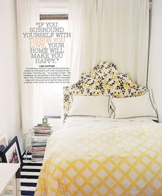 Tiny yellow bedroom