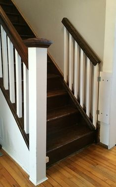 Weekend Project: Make your own Custom Baby Gate – River Ridge Co. Pet Gates For Stairs, Staircase Gate, Dog Stairs, Stair Gate, House Stairs, Dog Gates, Stairway, Child Gates, Wood Baby Gate