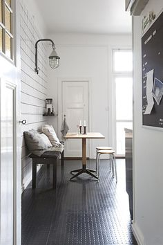 Painted wood paneling wall - love!