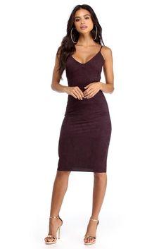 Plum Basic Suede Midi Dress