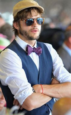 Ashton Kutcher at the annual Kentucky Derby - 2012 (Alright, try to ignore that its ashton, just look at his clothes and sunglasses.)