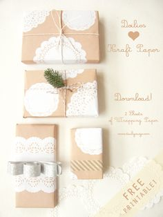 Doilies + brown paper = cute wrapping for divine pressies