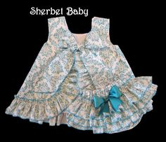 Teal Damask Print Pinafore Set Sassy Pants Ruffle Diaper Cover Bloomer Also available in Pink or Black