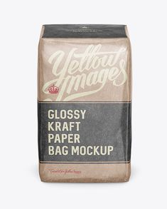 Glossy Kraft Paper Bag Mockup - Front View (High-Angle Shot). Preview