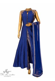 Royal blue anarkali with intricate embroidery and brocade pants