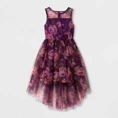 ZENZI Girls' ZENZI Sleeveless High Low Bodice Dress - Burgundy
