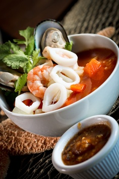 Tlalpeño soup...............$10.99  Shrimp,fish, octopus, clam and squid with carrots, potato, broccoli, and cauliflower in a delicious, cook to order ,broth with chipotle, avocado and panela cheese.