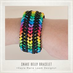 Rainbow Loom Bracelet Snake Belly by KaylaMarieLoomDesign on Etsy