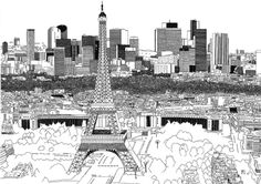 Chris Dent, cities illustrations for John Lang LaSalle_paris Building Illustration, Travel Illustration, Paris Drawing, Modern Metropolis, Paris City, Beautiful Drawings, Illustrations, Line Drawing, Artwork