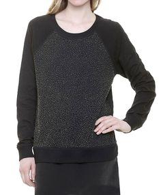 Swildens Sweater Pullover LEAFBEAD perlenbestickt black