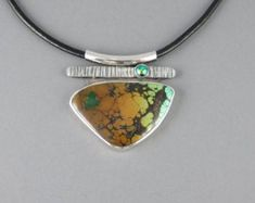 Triangular Agate Pendant with Broomcast Silver Dandelion Necklace, Dichroic Glass, Agate Stone, Leather Cord, Handmade Silver, Artisan Jewelry, Necklace Lengths, Green And Grey, Turquoise Bracelet