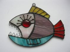 Contemporary glass art piranha Stained glass suncather fish Birthday gift by MyVitraz on Etsy