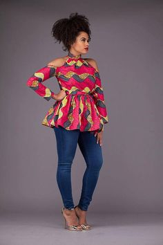 The Latest Ankara Tops With Jeans Style African Fashion Ankara, African Fashion Designers, Ghanaian Fashion, African Inspired Fashion, African Print Dresses, African Print Fashion, Africa Fashion, African Dress, Nigerian Fashion