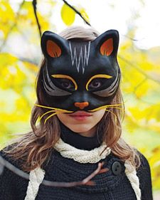 Picked up a paper mache cat mask at Target last week ($2) and plan on doing this in time for Halloween (not that I've got anything special planned!). via Martha Stewart. #autumn #halloween #DIY