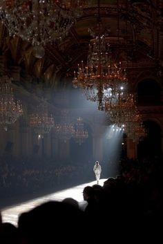 Chandelier lit runway ! Now that's a  R U N W A Y!