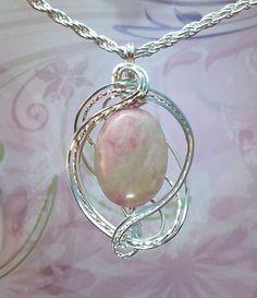 Roze Agaat hanger ketting Wire Wrapped Sieraden Handgemaakte in zilver met…