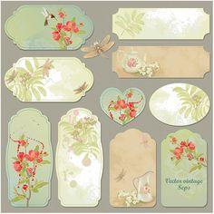 10 Vintage Floral Labels & Banners Set - http://www.welovesolo.com/10-vintage-floral-labels-banners-set/