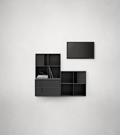 Montana HIFI composition in black. #montana #furniture #danish #design #furniture #storage #interior #inspiration #interiordesign #indretning #inredning #einrichtung Montana Furniture, Interiordesign, Danish Design, Home And Living, Shelving, Drawers, Furniture Design, Danishes, Wall Decor