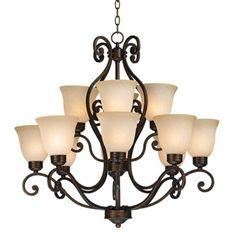 Bronze Over Iron Twelve Light Chandelier    Possible foyer chandelier?