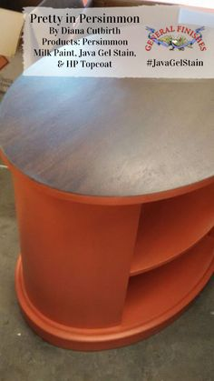 Diana Cutbirth refreshed this table with GF Persimmon Milk Paint and the ever popular Java Gel Stain.  What a great way to add a pop of color!