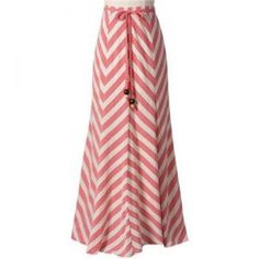 Coral salmon pink peach tangerine orange - coral chevron striped long skirt | www.myLusciousLife.com