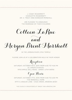 Colleen and Morgan Traditional Wedding Invitations, Elegant Wedding Invitations, Utah Temples, Invitation Maker, Striped Wedding, Wedding Announcements, Marriage, Place Card Holders, Celebrities