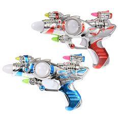 Starz Kids Plastic Toys Sounding Pistol Gun Musical Flashing Function Laser Space Toy Boy's Gift Blue / Red