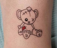 A teddy bear is a stuffed toy in the form of a bear. Teddy bears are a favorite form of soft toy for amateur toy makers. Below, we are going to mention teddy bear tattoos. Dainty Tattoos, Dope Tattoos, Badass Tattoos, Pretty Tattoos, Mini Tattoos, Small Tattoos, Tatoos, Funky Tattoos, Artistic Tattoos