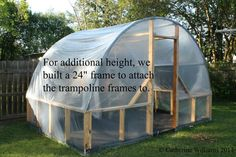 Recycled trampoline to greenhouse - Modern Recycled Trampoline, Best Trampoline, Backyard Trampoline, Trampoline Ideas, Trampolines, What Is Greenhouse, Greenhouse Plans, Greenhouse Pictures, Small Greenhouse