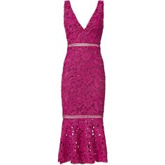 Pink Trumpet Hem Lace Dress (£375) ❤ liked on Polyvore featuring dresses, pink, fitted cocktail dresses, lace cocktail dress, purple lace cocktail dress, pink cocktail dress and lace dress