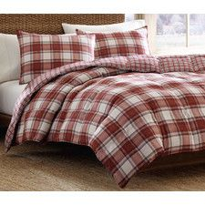 Edgewood 3 Piece Plaid Comforter Set in Red