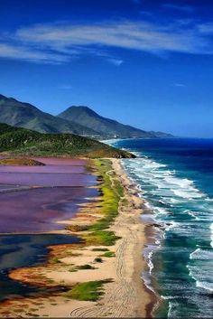 Shoreline, beach, mountains - Isla Margarita, Venezuela
