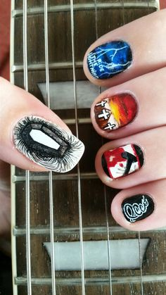 From the albums Death Magnetic, Ride the Lightning, Master of Puppets, Kill 'em All and Metallica. Hair And Nails, My Nails, Band Nails, Music Nails, Metallica Art, Munier, Ride The Lightning, Rock Poster, Estilo Rock