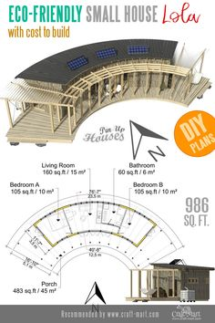 This curved small home plan is one of the most unusual house designs on the market. This curved small home plan is one of the most unusual house designs on the market. Tiny House Trailer, Small House Plans, House Floor Plans, Round House Plans, The Plan, How To Plan, Budget Crafts, Diy On A Budget, Backyard Sheds
