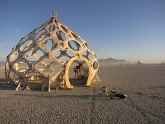 Zomes are polar zonohedral domes.  Rob Bells's Zomes are beautiful, organic spaces designed in SketchUp, fabricated with a CNC router and assembled with just mallets and bare hands.