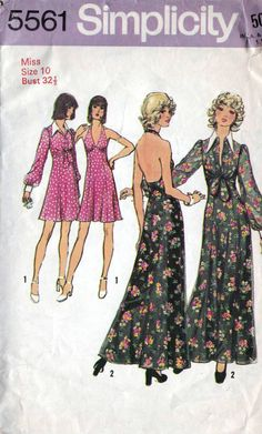 Simplicity 70s sewing patterns 5561, halter dress and jacket, halterneck, Bust 32.5 inches.   Misses Halter-Dress in Two Lengths and Unlined Jacket: The